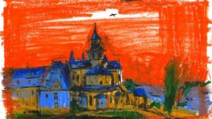 Dessin de l'Abbaye de Fontevraud réalisé en résidence © Mélody Boulissière