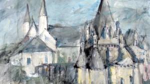 Visuel 2016 © Theodore Ushev, peinture de l'Abbaye de Fontevraud réalisée en résidence