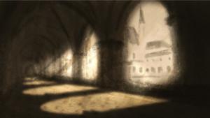 Dessin du cloître de l'Abbaye de Fontevraud réalisé en résidence © Robin Morales Reyes