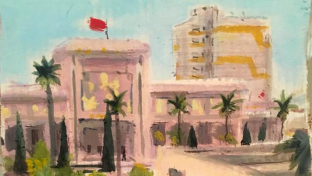 Peinture de Meknès par Caroline Cherrier, résidente en 2018